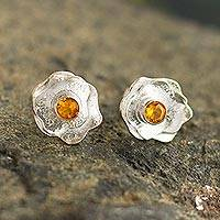 Citrine button earrings, 'Surco Rose' - Andean Earrings and Sterling Silver Rose Pendant Necklace