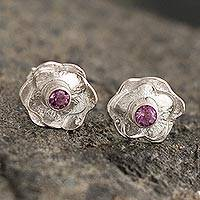 Amethyst button earrings, 'Surco Rose' - Andean Amethyst and Sterling Silver Rose Button Earrings