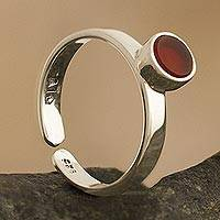 Carnelian solitaire ring, 'Stylish Simplicity' - Inlaid Carnelian Solitaire Ring from Peru