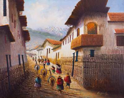 'Sunny Sunday in the Andes' - Original Oil Painting of a Small Andean Town on Sunday