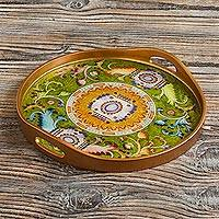 Reverse-painted glass tray, 'Royal Medallion in Green' - Hand Painted Green and Gold Glass Tray