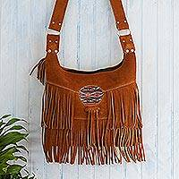 Wool-accented suede hobo bag, 'Urubamba Valley' - Rust Suede Shoulder Bag from Peru