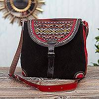 Wool-accented suede and leather shoulder bag, 'Sacred Valley' - Black and Red Suede and Wool Shoulder Bag
