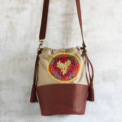 Leather and canvas bucket bag, 'Shipibo Connection' - Embroidered Cotton and Leather Bucket Bag