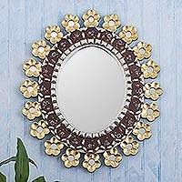 Reverse-painted glass wall mirror, 'Cajamarca Garland' - Floral Reverse-Painted Glass Wall Mirror