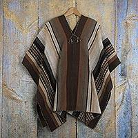 Men's 100% alpaca poncho, 'Chinchero Legacy' - Backstrap Handwoven Men's Alpaca Poncho in Earth Tones