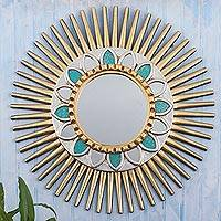 Wood and glass wall mirror, 'Flower of the Sun' - Hand Painted Wood Sun Wall Mirror