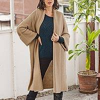 Organic cotton sweater coat, 'Faithful Companion in Camel' - Long Seed Stitch Organic Cotton Sweater Coat
