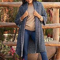 Organic cotton and baby alpaca blend sweater coat, 'Constant Companion in Tweed' - Navy and White Organic Cotton Blend Sweater Coat