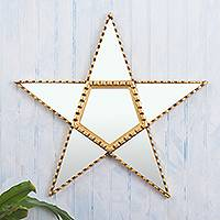 Wood and glass wall mirror, 'Star Power' - Handcrafted Star-Shaped Mirror with Bronze Leaf