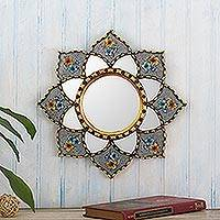 Reverse-painted glass wall accent mirror, 'Chrysanthemum in Grey' - Bronze Leaf Accented Small Wall Mirror