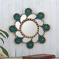 Reverse-painted glass wall accent mirror, 'Emerald Whirlwind' - Emerald Green Reverse-Painted Glass Wall Mirror