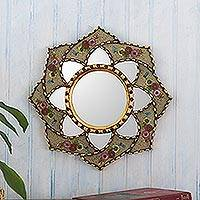 Reverse-painted glass wall accent mirror, 'Cusco Lotus in Khaki' - Floral Reverse-Painted Glass Accent Mirror