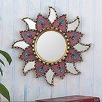 Reverse-painted glass wall accent mirror, 'Mauve Star' - Handcrafted Small Mauve Glass Wall Mirror