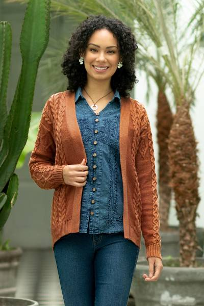 Cotton and recycled PET blend cardigan, 'Ginger Cable Classic' - Eco Friendly Cable Knit Open Front Deep Orange Cardigan