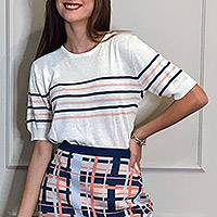 Short-sleeved cotton blend sweater, 'Sweet Freedom' - Cotton Blend Striped Sweater