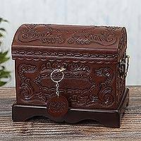 Tooled leather jewelry chest, 'Colonial Heritage' - Brown Embossed Leather Jewelry Chest