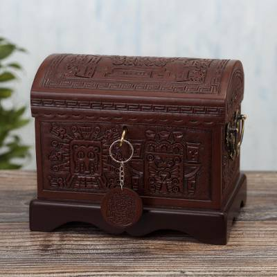 Tooled leather jewelry chest, 'God of Wands' - Hand Tooled Leather Jewelry Chest with Inca Theme