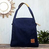 Leather-accented denim tote bag, 'Midnight in Miraflores' - Artisan Crafted Blue Denim Tote Bag