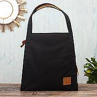 Cotton canvas tote bag, 'Adventure Ahead' - Black Canvas Tote Bag with Leather Accents
