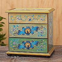 Reverse-painted glass jewelry chest, 'Spring Splendor' - Peruvian Reverse-Painted Glass Jewelry Chest