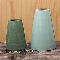 Ceramic decorative vases, 'Piura Green' (pair) - Chulucanas Style Ceramic Decorative Vases (Pair)