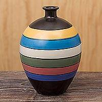 Ceramic decorative vase, 'Chulucanas Ribbons' - Striped Decorative Chulucanas Vase
