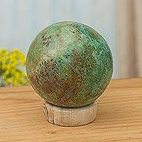 Chrysocolla sculpture, 'Earth's Majesty' - Hand Carved Chrysocolla Sphere Sculpture on Calcite Base