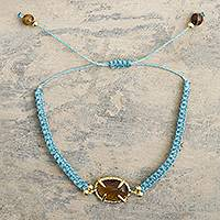 Gold-accented tiger's eye macrame pendant bracelet, 'Sweet Diversion in Blue' - Handmade Macrame Bracelet with Tiger's Eye