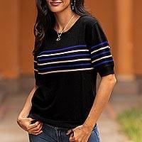 Short-sleeved cotton blend sweater, 'Sweet Life' - Striped Short-Sleeved Sweater