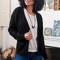 Cotton and recycled PET blend cardigan, 'Black Cable Classic' - Eco Friendly Black Cable Knit Open Front Cardigan