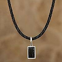 Tourmaline pendant necklace, 'Mysterious Black' - Leather Cord Necklace with Black Tourmaline
