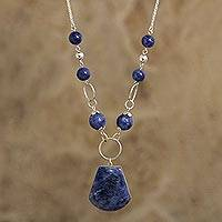 Sodalite pendant necklace, 'Circular Logic' - Natural Sodalite Gemstone Necklace