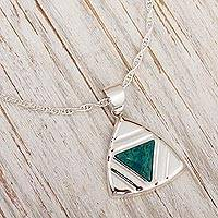 Chrysocolla pendant necklace, 'Inverted Pyramid' - Peruvian Chrysocolla Triangle Pendant Necklace