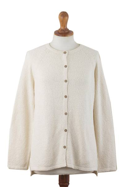 Pima cotton boucle cardigan, 'Grace Note' - Warm White Pima Cotton Cardigan