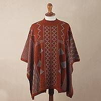 100% baby alpaca poncho, 'Pattern Play' - Knit Deep Orange Baby Alpaca Poncho