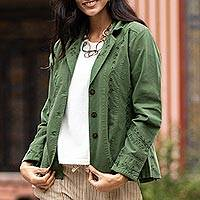 Cotton blazer jacket, 'Andean Fields' - Embroidered Laurel Green Cotton Blazer Jacket from Peru