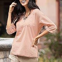 Cotton tunic, 'Sunset in Lima' - Pale Melon Orange Embroidered Cotton Tunic Top from Peru