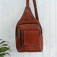 Leather shoulder bag, 'Adventures in Cusco' - Burnt Sienna Leather Shoulder Bag