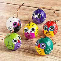Ceramic ornaments, 'Good Luck Owls' (set of 6) - Set of 6 Peruvian Hand Painted Ceramic Lucky Owl Ornaments