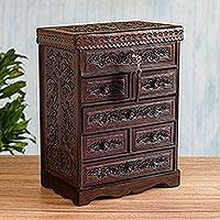 Leather and wood jewelry chest, 'Colonial Flowers' - Hand Crafted Leather Jewelry Chest