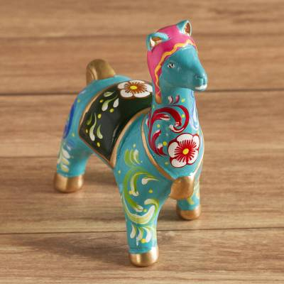 Ceramic figurine, Chullo Llama in Turquoise