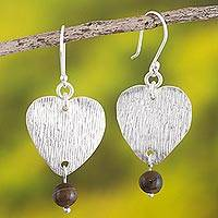 Tiger's eye dangle earrings, 'Heart of the Tiger' - Heart-Shaped Earrings with Tiger's Eye
