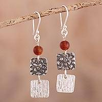 Carnelian dangle earrings, 'Square Root' - Textured Sterling and Carnelian Earrings
