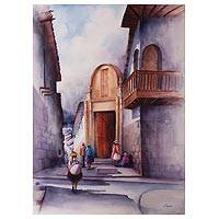 'Cusco Museum of Religious Art' - Signed Original Watercolor Painting of a Cusco Museum