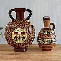 Ceramic Cuzco decorative vases, 'Inca Hummingbirds' (pair) - Cuzco Style Handmade Peru Decorative Ceramic Vessels (Pair)