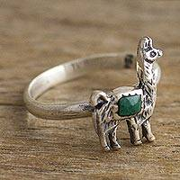 Chrysocolla cocktail ring, 'Andean Llama in Green' - Chrysocolla and Silver Llama Cocktail Ring from Peru