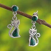 Chrysocolla dangle earrings, 'Andean Cat in Green' - Green Chrysocolla and Silver Cat Dangle Earrings