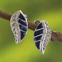 Lapis lazuli button earrings, 'Inca Trails in Blue' - Peruvian Lapis Lazuli and Silver Button Earrings
