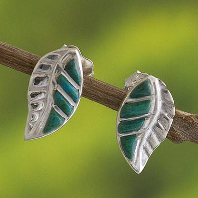 Chrysocolla drop earrings, 'Inca Trails in Green' - Peruvian Chrysocolla and Silver Drop Earrings